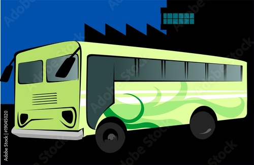 Illustration of a green transport bus