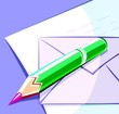 Illustration of a  envelope for mail and pencil