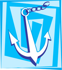 Illustration of an anchor with chain in blue