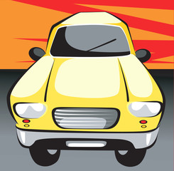 Illustration of a yellow car in red background