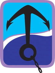 Illustration of an anchor with chain in blue on waves