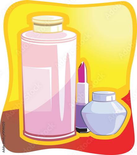 Illustration of cosmetic items in yellow background