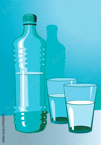 Illustration of a water bottle and glasses