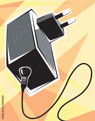 Illustration of a black adaptor with electric cable