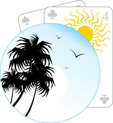 Illustration of playing card and coconut trees
