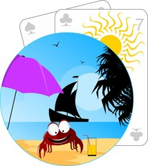 Illustration of crab in a beach
