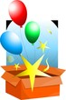 Illustration of a gift box and balloons