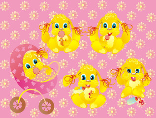 Girls kids of a rabbit on a pink background