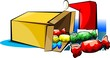 Illustration of a gift box with sweets