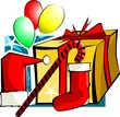Illustration of gift box and balloons