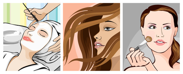 Illustration of ladies in beauty makeover icon