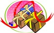 Illustration of three gift boxes and ribbons