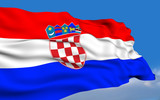 Croatian flag waving on wind poster