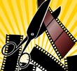 Illustration of Scissors and film