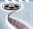 Illustration of cinema projector  and films