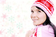 happy smiling woman on with falling snowflake