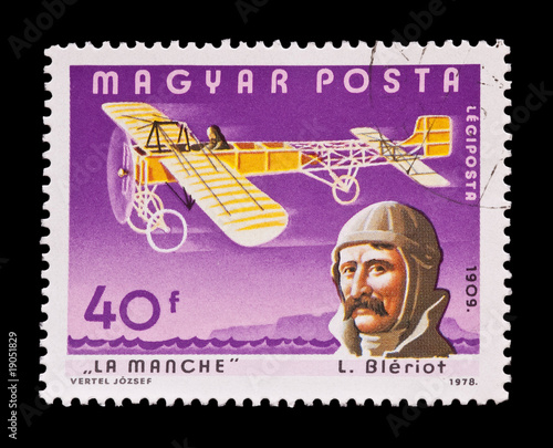 mail stamp featuring louis bleriot's historic flight in 1909
