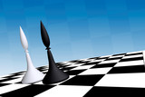 black & white officers on chessboard