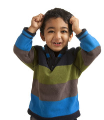Portrait of an Excited Toddler Pulling his Hair, isolated