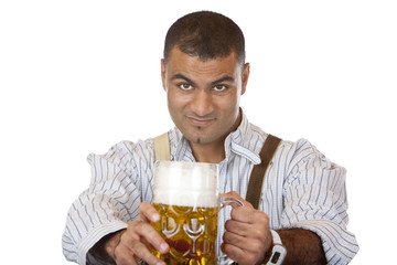 Sexy man with lederhose holds Oktoberfest beer stein (Mass)