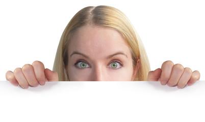 Woman Holdaing Blank Sheet of Paper
