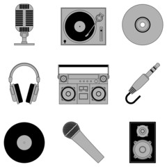Set of 9 grey music icons, isolated on white background.