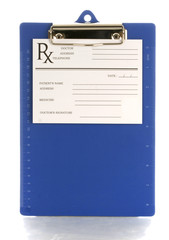 medical clipboard with prescription pad with reflection