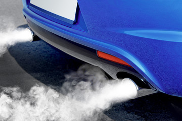 pollution of environment from powerful car