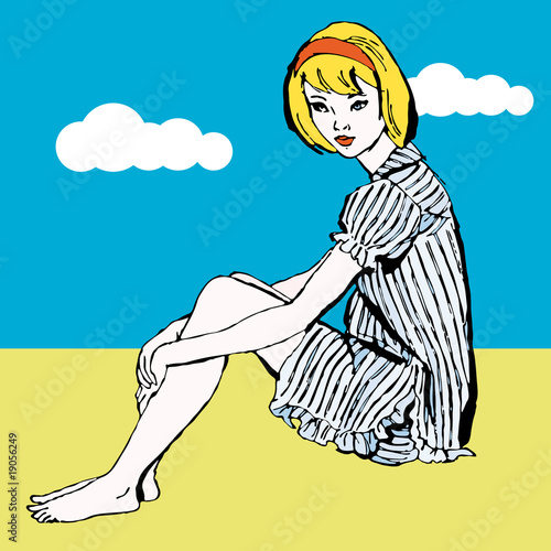 Dreaming pop art girl