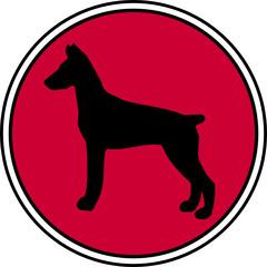 Dobermann Hund Button rot