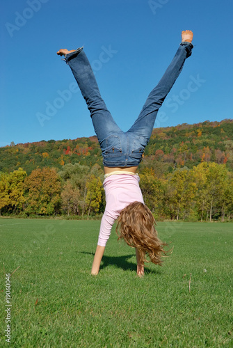 Handstand in Green Field