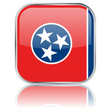 Tennessee State Square Flag Button (USA - Vector Reflection)