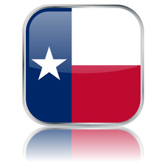Texan State Square Flag Button (Texas - USA - Vector Reflection)