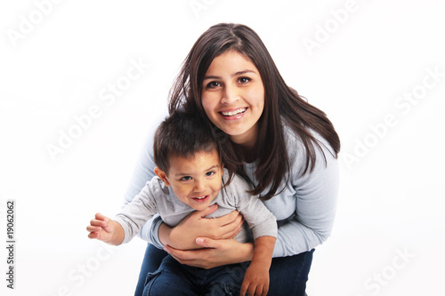 Mother and child playing isolated