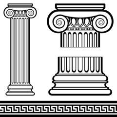 Ionic Columns with Greek Key Pattern