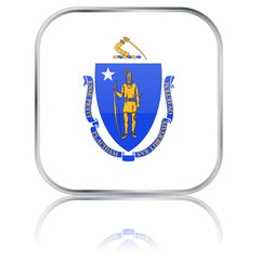 Massachusetts State Square Flag Button (USA - Vector Reflection)