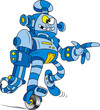 Vector illustration of Crazy blue brass robot character