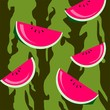 Illustration of water melon in colour background
