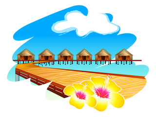 Wooden footbridge to Maldives water houses with hibiscus flowers