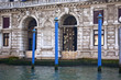 Grand Canal Blue Poles Ancient Homes Statues Reflections Venice