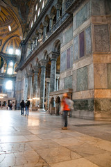 Inside of Hagia Sophia highlighted by sun beams