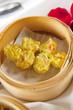 Dumplings in bamboo steamer