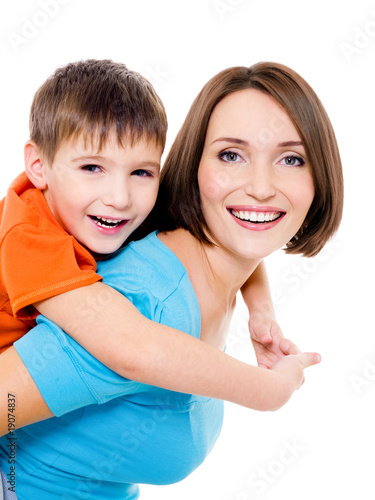 Happy cheerful mother with little son
