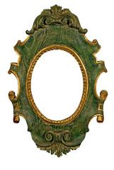 Marco de foto ovalado verde y dorado