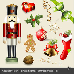 vector set: traditional christmas - assorted holiday icons