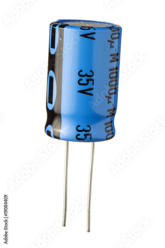 Blue Electronic Capacitor Isolated on White Background - 19084409
