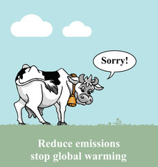 Apologetic cow relating to global warming emissions