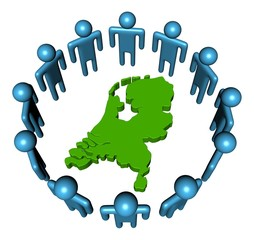Circle of abstract people around Netherlands map