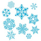 Vector set of snowflakes. Hight quality illustration in blue. poster
