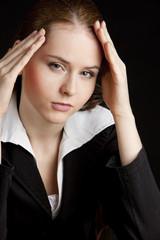 portrait of tired businesswoman